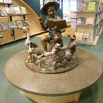 Jack's Story Time sculpture on display in the Library outside the entrance to Youth Services.