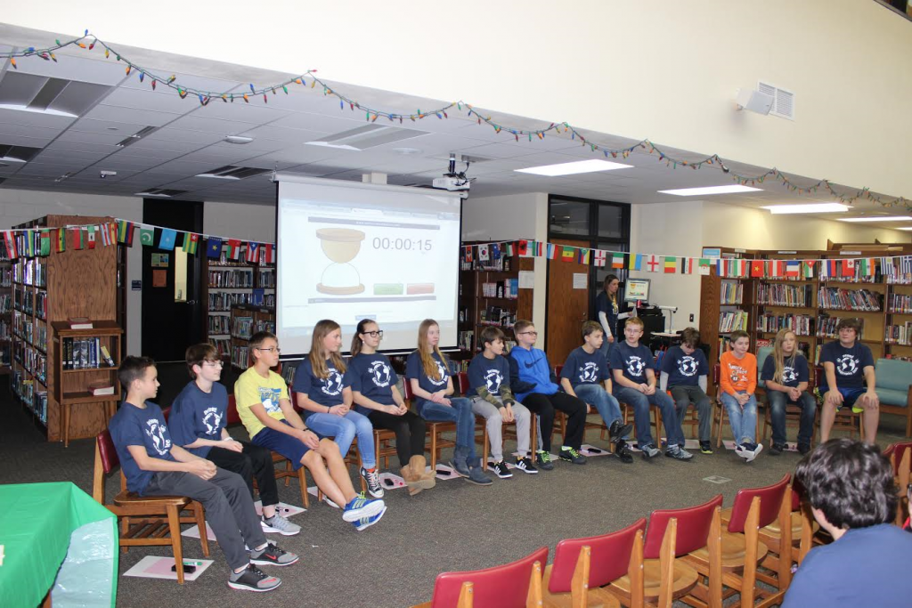 The 14 contestants in the DeLong Middle School Geo Bee were, left to right: Nicholas Porter, Blake Hanson, Connor Jol, Emma Johnson, Ivy Hoeft Anhorn, Lauryn Bredlau, Louis Dalal-Haugen, Nick Tumaniec, Elliott Strong, Maverick Bristol, Hayden Schultz, Trevor Kegel, Miles Hinz and Braden Lortscher