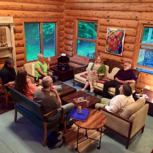 Max Garland leads an informal discussion at one of the 2016 writers' residencies hosted by the Chippewa Valley Writers Guild and Cirenaica